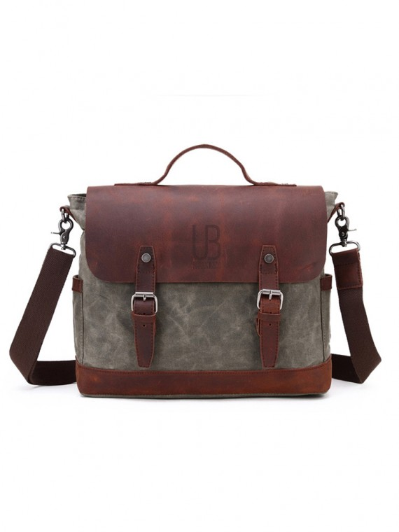 Leather and waxed canvas URBAN BAG Little Goteborg – Green
