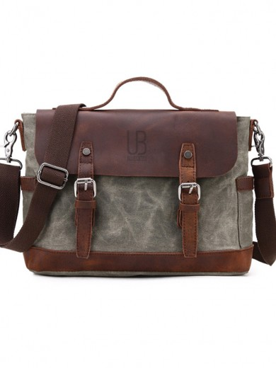 Leather and waxed canvas URBAN BAG Goteborg - Green