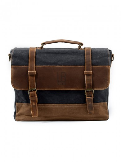 Leather and waxed canvas URBAN BAG Stockholm – Gray