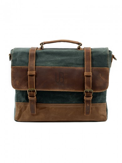 Leather and waxed canvas URBAN BAG Stockholm – Lake Green