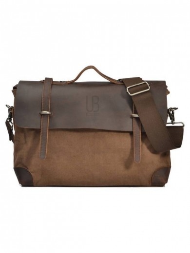 Leather and canvas URBAN BAG London – Brown