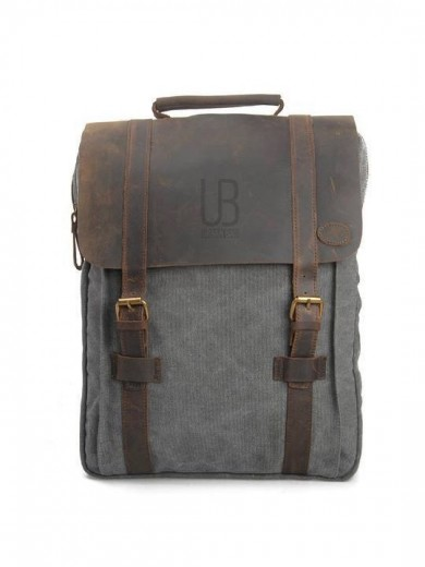 Leather and canvas backpack URBAN BAG Lugano - Grey