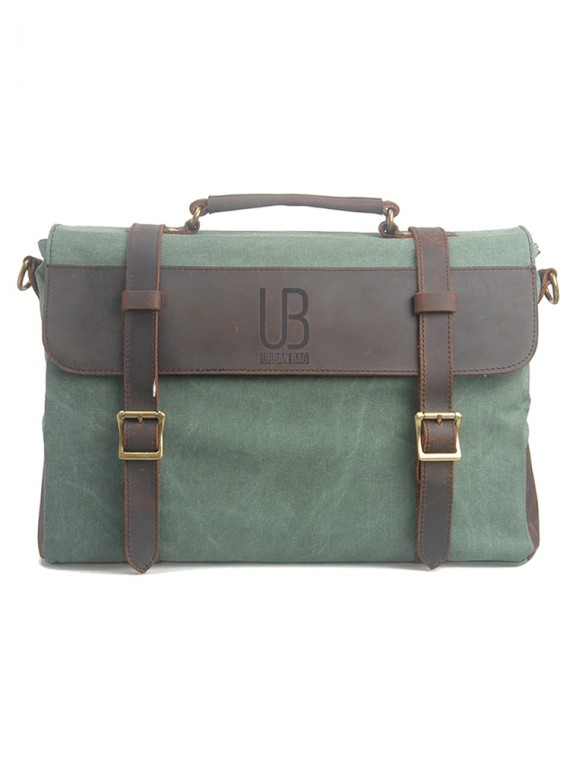 Leather and waxed canvas URBAN BAG Cardiff –Green