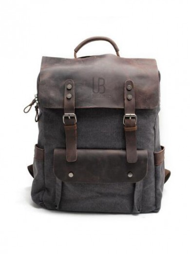 Leather and canvas backpack URBAN BAG Otto -Grey