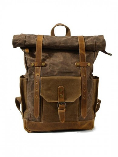 Leather and waxed canvas backpack URBAN BAG Boston -Coffee