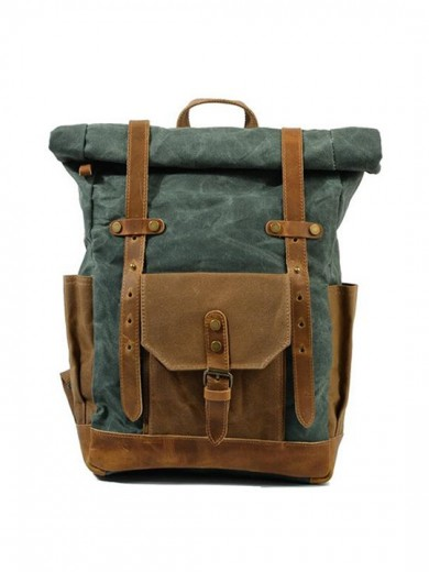 Leather and waxed canvas backpack URBAN BAG Boston Lake Green