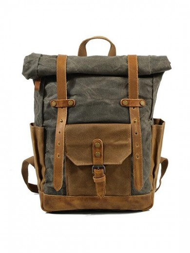 Leather and waxed canvas backpack URBAN BAG Boston -Green