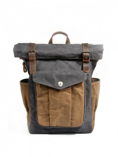 Leather and waxed canvas backpack URBAN BAG Denver II– Grey