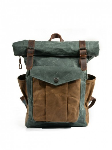 Leather and waxed canvas backpack URBAN BAG Denver II - Lake Green