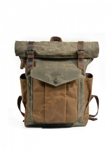 Leather and waxed canvas backpack URBAN BAG Denver II - Grey