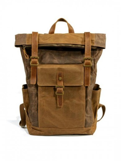 Leather and waxed canvas backpack URBAN BAG Denver – Coffee