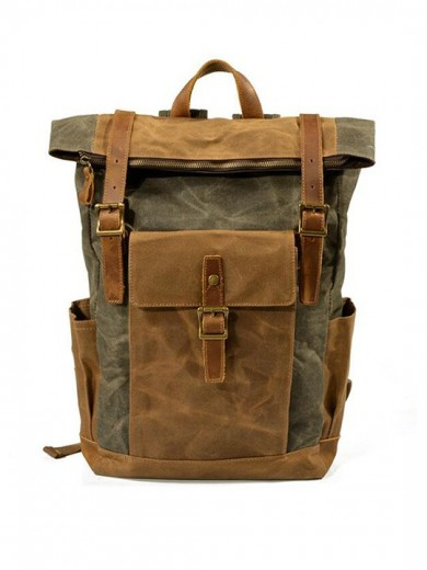 Leather and waxed canvas backpack URBAN BAG Denver Green