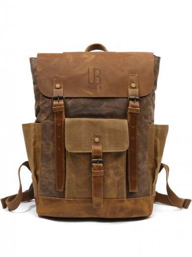 Leather and waxed canvas backpack URBAN BAG Memphis - Coffee