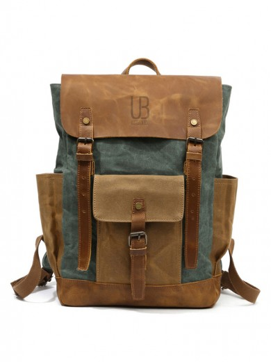 Leather and waxed canvas backpack URBAN BAG Memphis Green