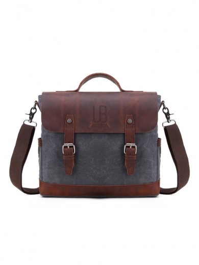 Leather and waxed canvas URBAN BAG Little Goteborg – Grey