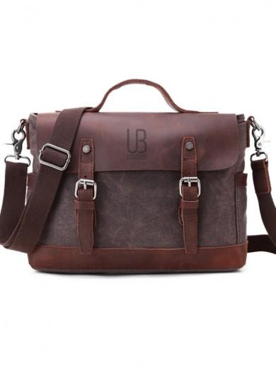 Leather and waxed canvas URBAN BAG Goteborg – Coffee