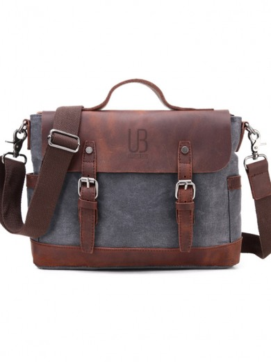 Leather and waxed canvas URBAN BAG Goteborg –Grey