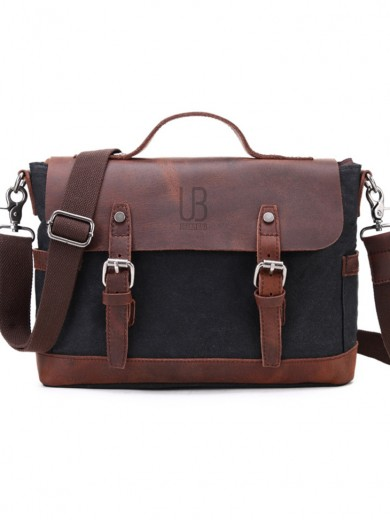 Leather and waxed canvas URBAN BAG Goteborg – Black