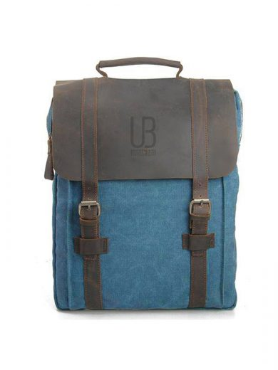 Leather and canvas backpack URBAN BAG Lugano – Blue